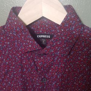 NWOT Express extra slim floral button shirt